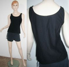 EILEEN FISHER Viscose Nylon Spandex Black Stretchy Scoop Neck Cami Tank Top M...http://stores.shop.ebay.com/vintagefluxed