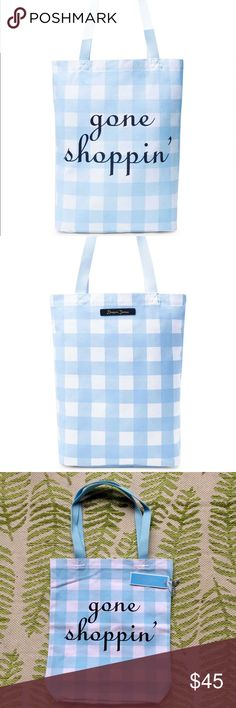 "NWT Draper James Blue Check Gone Shopping Tote bag NWT Draper James Blue Check Gone Shoppin' Tote bag- perfect condition. Sold out, rare find!  Look how cute y'all! 💕😍💙  ""It's hard to resist a great carryall, especially one this cute. With room enough for all your essentials and then some, this canvas tote will get you through the day. (Whether it's a day of shopping or not.) DETAILS & FIT 16"" x 11"" x 4"" (10.5"" drop handle) Printed canvas""  Smoke free, pet free. Thanks for looking! draper…"