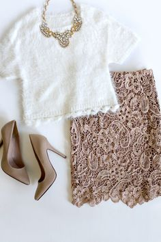 White Short Sleeve Top + Statement Necklace + Crochet Pencil Skirt + Nude Heels