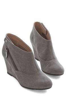 Grey zipper booties