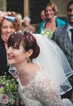 Lisa with her bespoke wedding veil and confetti