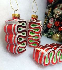 Peppermint Ribbon Candy Christmas Tree Ornaments, Glass Red, White Green