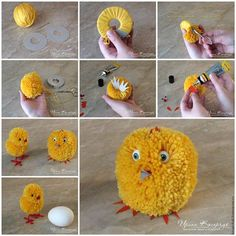 How to make adorable Pom Pom Easter chicks - Easter Day DIY your Christmas gifts this year with GLAMULET. they are compatible with Pandora bracelets. How to Make Adorable Pom-Pom Easter Chicks Learn how to make pom pom Easter bunnies. Pom Pom Crafts, Yarn Crafts, Diy And Crafts, Arts And Crafts, Paper Crafts, Pom Pom Diy, Handmade Crafts, Cardboard Crafts, Crochet Crafts