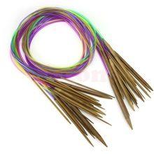 "18Pcs 47"" 120cm Multicolor Tube Circular Carbonized Bamboo Knitting Needles(China)"