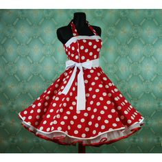 50's vintage dress full skirt red white polka dots Retro Dress Tailor Made ($99) found on Polyvore