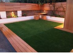 Artificial grass and decking look great with good garden lighting www. : Artificial grass and decking look great with good garden lighting www. Back yard Artificial grass and decking look great with good garde. Small Backyard Landscaping, Backyard Patio, Backyard Ideas, Garden Ideas, Fence Ideas, Landscaping Design, Back Gardens, Outdoor Gardens, Astro Turf Garden