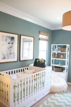 Great color scheme - wall color, burlap lam shade, wood details, white molding