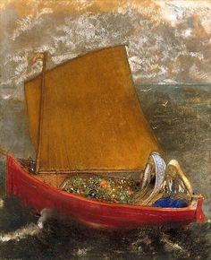 Redon            Odilon Redon, La Voile Jaune, c.1905 (via).