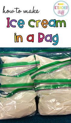 """How to Make Ice Cream in a Bag We recently had ice cream day for """"i"""" day of our ABC countdown to summer. Instead of buying ice cream, I decided we would make our own. I knew it would be a great memory-making activity for my students, and *bonus! Ice Cream Day, Make Ice Cream, Ice Cream In A Bag Recipe With Milk, Diy Bag Ice Cream, Rock Salt Ice Cream, Ice Cream Kids, Ice Cream Crafts, Science Experiments Kids, Science For Kids"""