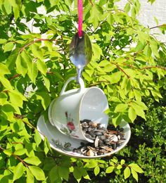 Tea Cup Bird Feeder with Hand Stamped Bent Spoon- Here Birdie – All About The Garden Shop