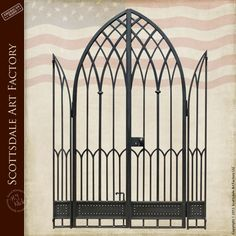 Gate - Wrought Iron Gothic Arch Gate - 7300WI