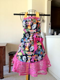 Full apron with Hot Pink Lace and skulls by StitchedbyCourt, $30.00