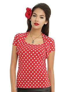 66b576ed52 Red   White Polka Dot Retro Style Girls Top