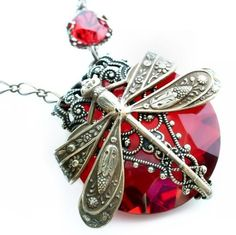 Vintage metal dragonfly and ruby red