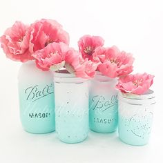 In love with this beautiful set for the super talented Tarra @walrusandtoad!  Check out my ombre jar listing in the store to create your custom set!  Ordering recipe for jars pictured:  Shop section: Mason jars Category: ombre Mason jars  Colors: light Aqua and white  Jar sizes: 1 quart, 1 quilted, 1 pint, 1 mini Finish: distressed/matte  No jute bows  #ombre #summerdecor #beachhouse #beachdecor #summer #weddingdecor #weddingcenterpieces #beachhousedecor