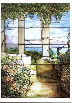 Louis Comfort Tiffany Window Postcard Stained Glass Peacock & Peonies