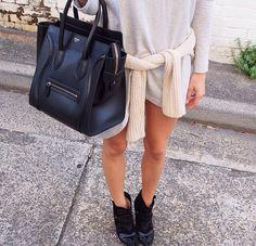 Mono me luggage,  #sweater -  celine -  style  #black  monochromatic Spring Summer Fashion, Autumn Winter Fashion, Fashion Outfits, Womens Fashion, Dope Fashion, Fasion, Street Fashion, Summer Wardrobe, Passion For Fashion