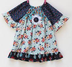 Fall Flower Blues Retro Peasant Dress by LemonDoozyLane on Etsy