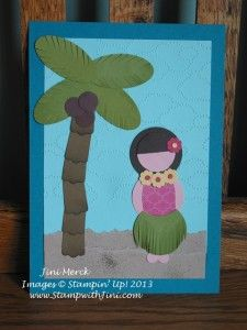 Luau graduation party invites I made for my daughter this year using punch art hula girl and palm tree