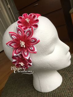 Girl headband  girl kanzashi headband  kanzashi by MagaroCreations