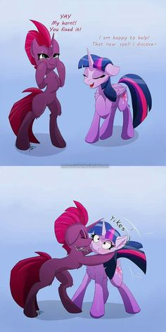 I just imagined what would happen if Twilight fixes Tempest's horn. I think that's one of possibilities C: This art was a heck of a work, I tell ya. My Little Pony Drawing, My Little Pony Cartoon, My Little Pony Pictures, Mlp My Little Pony, My Little Pony Friendship, Imagenes My Little Pony, Mlp Memes, Mlp Twilight, Punch Man