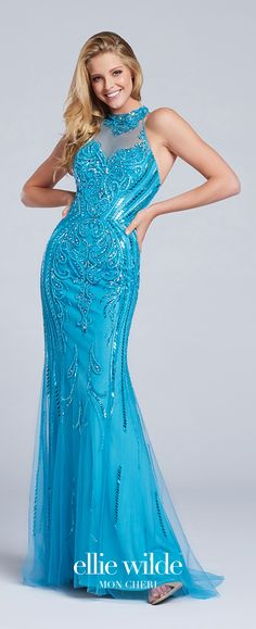 Prom Dresses 2017 - Ellie Wilde for Mon Cheri - turquoise hand-beaded tulle prom dress with high halter neckline - Style No. EW117099