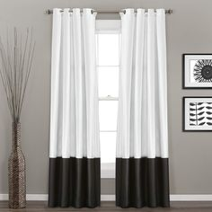 Prima Black/White Window Curtain Set - Lush Decor for any room, these Prima window panels feature a classy, simple design. Metal Grommets slides onto curtain rod for installation. Full lining provides extra insulation and privacy. Drop Cloth Curtains, Black Curtains, Grommet Curtains, Drapes Curtains, Pergola Curtains, Bedroom Curtains, Patterned Curtains, Layered Curtains, Purple Curtains