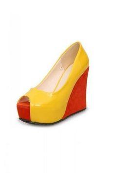 b466c6e934fa Bi Color Faux Patent Leather Orange Wedges Open Toe Platforms High Heels  Shoes