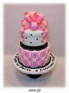 Pink, Black, & White Geometric Paris Cake