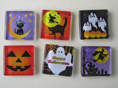 Glass Fridge Magnets  Halloween Decorations Set of 6 by DLRjewelry, $12.00