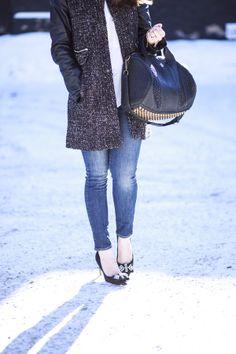 tweed coat + sparkly heels
