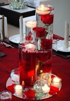 centros de mesa de bodas en rojo fiesta - Buscar con Google