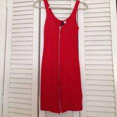 V cut red dress heels