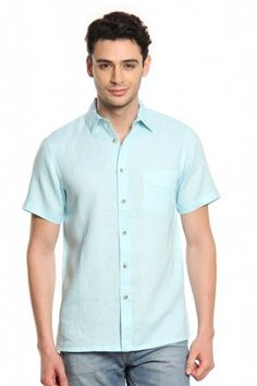 9e636066d363 Buy Men Light Blue Linen Half Sleeves Shirt Online at Best Price India