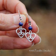 Sterling Silver Lapis Heart Earrings by 45thParallelStudio on Etsy