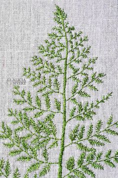 Fern leaf embroidery by Alicia Sivertsson, 2016.