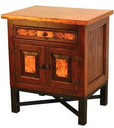 Copper Nightstand with Bismark Base