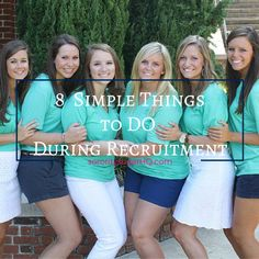 """There's lots of sorority advice posted for PNMs this time of year. Sometimes it's helpful to get back to BASICS and focus on some tried & true tips for going greek! Check out today's NEW post on sororitysugarHQ.com ~ """"8 SIMPLE THINGS TO DO DURING RECRUITMENT."""" Straightforward actions a PNM can take for maximum sorority success this fall! <3"""