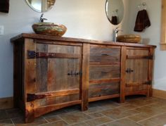 Rustic Bathroom Vanities made from antique's | Rustic Bath Cabinetry, Barn Wood Vanity, Log Cabin Vanities | Woodland ...