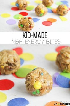 # Baking with kids Totally Tasty Kid-Made M&M Energy Bites No Bake Snacks, Snacks Für Party, Easy Meals For Kids, Kids Meals, Simple Recipes For Kids, Fun Snacks For Kids, No Bake Ideas For Kids, Easy Deserts For Kids, Breakfast Ideas For Kids