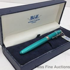 Bossert Erhard Aqua Teal Enamel Guilloche Sterling Silver Fountain Pen w Box CNX #BossertErhard