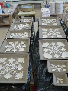 Snowflakes are Falling INSIDE!!! by Eleanor Hendriks Today's blog is mostly pictures -of the process I use to make snowflake designs on my pottery. Blank slab formed plates  Cutting pap…