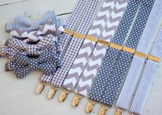 The Beau- gray collection- bow tie/suspender set for boys of all age- choose your favorite set