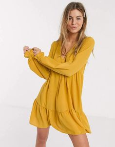 Browse online for the newest ASOS DESIGN v neck mini smock dress with pep hem in mustard styles. Shop easier with ASOS' multiple payments and return options (Ts&Cs apply). Asos, Leather Shirt Dress, Sweat Dress, Smock Dress, Mini, Casual Dresses, Short Sleeve Dresses, Shopping, Mustard