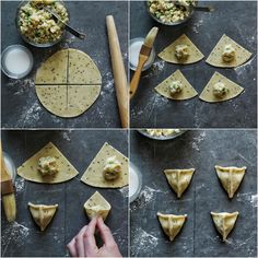 Don& be intimidated by the idea of making samosas—crispy, flaky fried Indian pastries—at home. Learn the technique for how to fold samosas into a triangle. How To Fold Samosas, How To Cook Samosa, Indian Snacks, Indian Food Recipes, Aperitivos Vegan, Comida India, Snack Recipes, Cooking Recipes, Cooking Tips