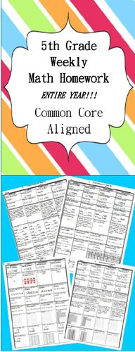 100% Editable Common Core Math Homework for 5th Grade! ENTIRE YEAR