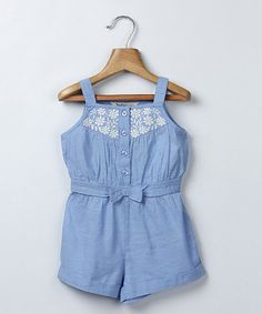 Look at this Light Blue Chambray Bow Romper - Infant & Toddler on #zulily today!
