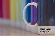 Colorful Coffee: Mugs with the Pantone Chip and Color number available in 20 colors in sizes for coffee, espresso and tea. http://www.pantone.com/