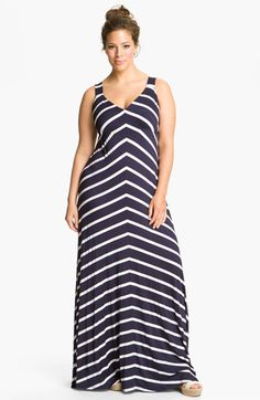 Stripe Maxi Dress #plus #size