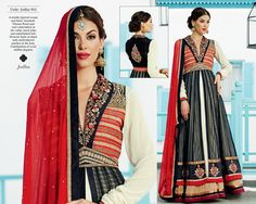 A double layered cream and black ?Anarkali?. Vibrant floral and ?zari?  embroidery at the collar, laced yoke and embellished belt. Weaved ?kalis? in black with embroidered patches at the hem. Combination of a red chiffon dupatta.
